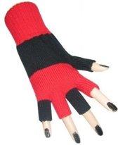 PartyXplosion - Handschoenen - Vingerloos - Rood/zwart