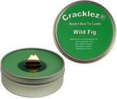 4 stuks Cracklez® Knetter Houten Lont Geurkaarsen in blik Wilde Vijg. Groen.