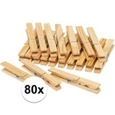 Houten wasknijpers - 80 stuks - voordelige knijpers / wasspelden