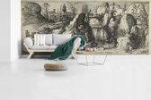 Fotobehang vinyl - Rotsachtig landschap met een waterval - Schilderij van Cornelis Claesz van Wieringen breedte 610 cm x hoogte 260 cm - Foto print op behang (in 7 formaten beschikbaar)