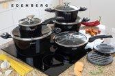 EDËNBËRG EB-5613 Luxe pannenset van gesmeed aluminium - 12-delig - Keramische/Marmeren coating - zwart/metallic