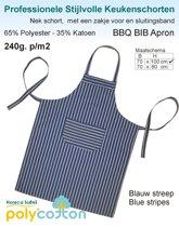 Homéé - Keukenschorten BBQ Apron blauw gestreept 240g. p/m2   Set van 2 stuks   70x100cm