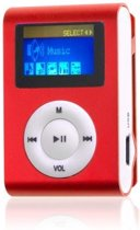 Mini clip MP3 speler met display Rood en in-ear ko