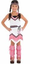 Roze met wit indianen jurkje voor meisjes 4-6 jaar (104-116)
