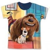 Huisdiergeheimen shirt maat 122/128 full print blauw