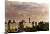 De oude stadsmuur in Jeruzalem tijdens zonsondergang in het Midden-Oosten Aluminium 90x60 cm - Foto print op Aluminium (metaal wanddecoratie)