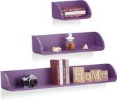 relaxdays wandplank set van 3 stuks - modern - wandboard - boekenplank - design - wandbox violet