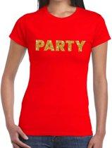 Party goud glitter tekst t-shirt rood dames XL