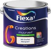 Flexa Creations Muurverf - Extra Mat - Mengkleuren Collectie - Wit Grafiet  - 2,5 liter