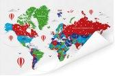 Kleurrijke wereldkaart op een witte achtergrond Poster 180x120 cm XXL / Groot formaat!