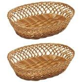 2x Ovale brood/stokbrood mandjes 31 x 23,5 x 8,5 cm - Keuken artikelen manden - Huis decoratie
