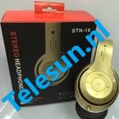 Wireless bluetooth headset STN16 Met Fm radio en Geheugen Poort goud Voor o.a iPhone 4 / 5 / 6 / 6S PLus Samsung Galaxy S4 / S5 / S6 / S7 EDGE PLUS / LG / HTC / Huawei / Sony
