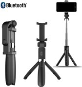 DrPhone Z2 Bluetooth draadloze Inklapbare Action Tripod Selfie Stick - Tripod Statief houder - Opvouwbaar + Bluetooth remote control - Voor o.a iPhone Xs/XS Max /XR/8 / LG G7 / Note 8/9 / Oneplus 6/ Moto G6(Plus)/ S9/S9 Plus / P20 / Sony etc - Zwart