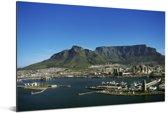 Kaapstad met op de achtergrond de Tafelberg Aluminium 180x120 cm - Foto print op Aluminium (metaal wanddecoratie) XXL / Groot formaat!
