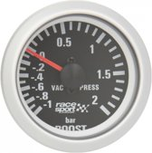 Race Sport Turbodrukmeter 52 Mm 12 Volt Zwart