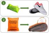 Tennisschoenen anti-zweetvoeten pakket: 2-PACK No Stink geurzakjes (schoenen, groen) en  1x No Stink XL (sporttas, oranje). Nu met set zweetbandjes!
