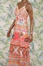 101 Idees allover print Ibiza jurk met smalle bandjes - maat S/M