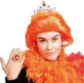 Oranje Koningin Pruik met Kroontje