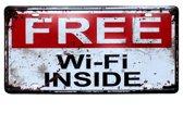 FREE WIFI INSIDE METALEN WANDBORD HORECA - BAR - KROEG - BEDRIJF - MUURPLAAT VINTAGE RETRO WANDDECORATIE TEKST DECORATIEBORD RECLAME NOSTALGIE ART ROOD NR. 497