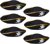 relaxdays 6 x piratenhoed zwart in set - piraat hoed - doodskop - carnaval – piraten