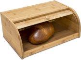 relaxdays Broodtrommel bamboe hout - Brooddoos rolluik - Broodkast - Brood trommel / kast.