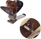 Plectrumhouder met plectrums - Gitaar plectrum houder - Guitar pick holder - Universele houder - 1 metalen houder + 2 plectrums