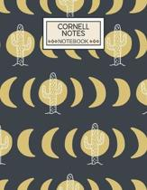 Cornell Notes Notebook: College Ruled Cornell Notebook Paper Index and Numbered Page Interior: Cactus Moon Phases