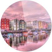 Trondheim | Noorwegen | Steden | Rond Plexiglas | Wanddecoratie | 90CM x 90CM | Schilderij | Foto op plexiglas