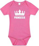 Prinsesje met kroon baby rompertje roze meisjes - Kraamcadeau - Babykleding 68 (4-6 maanden)