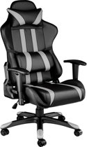 TecTake Gaming chair - bureaustoel Premium racing zwart grijs - 402231