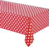 Rood plastic tafelkleed met witte stippen 137 x 274 cm - Feestdecoratievoorwerp