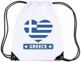 Griekenland nylon rijgkoord rugzak/ sporttas wit met Griekse vlag in hart