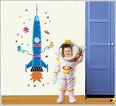 Stoere groeilat sticker voor muur of glas - Voor babykamer of kinderkamer - Raket als groeilat