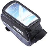 Medium Frametas Fietshouder | Smartphone Fietstas Frame | Houder Tas Met Mobielhouder | Waterdicht | Grijs
