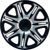 4-Delige J-Tec Wieldoppenset Nascar 15-inch zilver/zwart