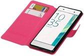 Sony Xperia XA Hoesje Cross Pattern TPU Bookstyle Roze