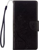 Voor Sony Xperia XA Ultra Bloemens Embossing horizontaal Flip lederen hoesje met houder & opbergruimte voor pinpassen & portemonnee & Lanyard(zwart)