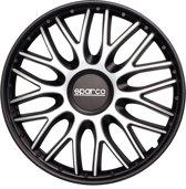 Sparco SP 1496SVBK  Wieldoppenset Roma 14-inch zilver/zwart - 4 stuks