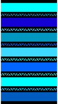 Luxe badlaken/strandlaken grote handdoek 100 x 175 cm gestreept blauw Twisty Blue