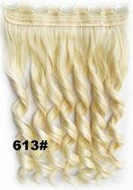 Clip in hair extensions 1 baan wavy blond - 613#