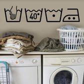 Muursticker - wasmachine - wasserij - kamers- afmeting: 75 cm x 16 cm