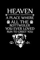 Heaven a Place Where All the Rottweiler You Ever Loved Run to Greet You: Cute Rottweiler Default Ruled Notebook, Great Accessories & Gift Idea for Rot