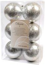 Kerstbal kunststof 80 mm Zilver Ijslak