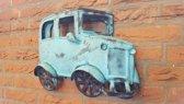 Oldtimer - Vintage - Metaal - Blauw- 41 x 31 x 9 cm