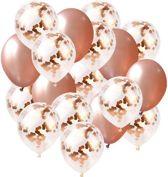 Confetti Ballonnen Set 18 Stuks Groot 45 cm (18 inches) + 100m Gouden Krullend Lint| Roze Gouden Witte Confetti Mix | Baby Shower Bruiloft Verjaardag Feestje