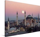 Maan boven Istanbul Canvas 60x40 cm - Foto print op Canvas schilderij (Wanddecoratie woonkamer / slaapkamer)