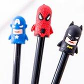 Set Van 3 Verschillende Fineliners Superhelden   Grappige Pennen Marvel