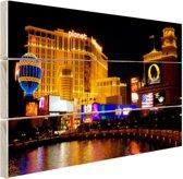Fraai verlichte gebouwen Las Vegas Hout 160x120 cm - Foto print op Hout (Wanddecoratie) XXL / Groot formaat!