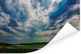 Prachtig wolkenveld boven het Nationaal park South Downs in  Engeland Poster 90x60 cm - Foto print op Poster (wanddecoratie woonkamer / slaapkamer)