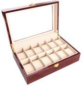 Elegante 12 stuk kersenhout patroon horloge doos met transparante deksel